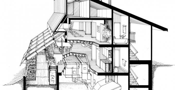 The Ark: Section-perspective of kitchen greenhouse and dwelling unit