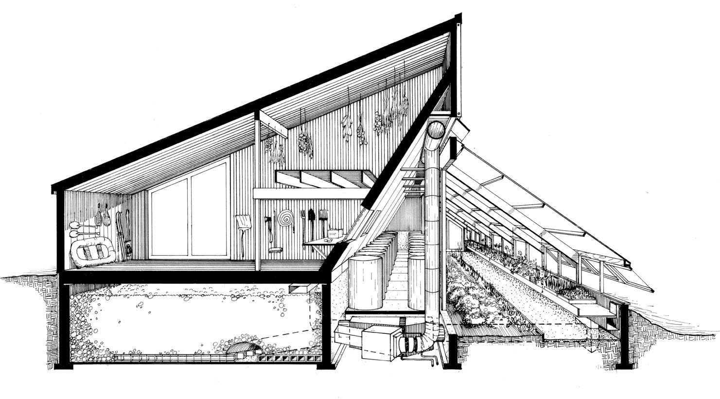 The Ark: Section-perspective of barn, rock heat storage & greenhouse