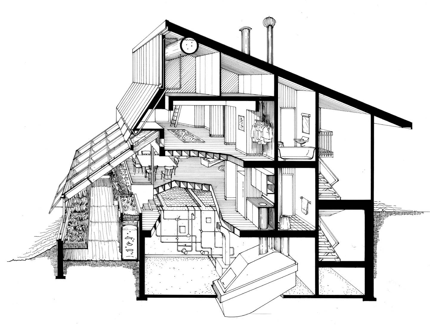 Kitchen perspective drawing - Section Of Mechanical And Dwelling Space